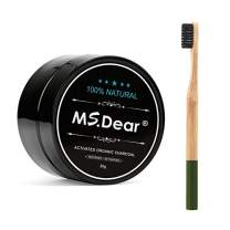 MS.DEAR Teeth Whitening Charcoal Powder Toothpaster Coconut Activated Charcoal Bonus 1pc Bamboo Toothbrush Natural & Organic Oral Care Set