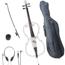 Cecilio 4/4 CECO-1WH Pearl White Electric Cello with Ebony Fittings in Style 1 (Full Size)