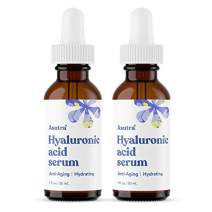 ASUTRA Anti-Aging Hyaluronic Acid Serum, 1 fl oz (2pk) | Brighten & Hydrate | Helps Fade Sun Spots, Hyperpigmentation, Appearance of Wrinkles | Vitamin E & C, Aloe, Green Tea, Geranium & Jojoba Oil