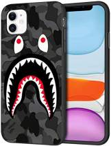 Toysdone Shark Face Case Camo Background Hard Cases Fashion Street Style Soft Silicone TPU Shockproof Bumper Compatible iPhone 7 8 Plus X XS Max 11 11 Pro Max (iPhone 11)