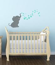 Elephant with Bubbling Dots Vinyl Wall Art Decals Nursery Décor S Gray-Mint 36x20