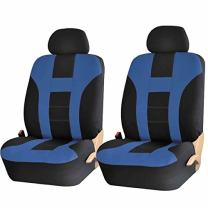 U.A.A. INC. Premium Front Low Back Seat Covers Pair Set Universal-fit for Car Truck SUVs Van - Blue