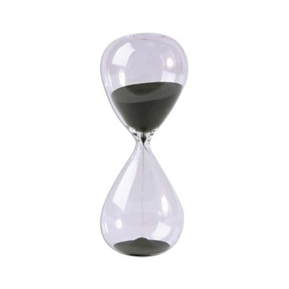 Large Fashion Black Sand Glass Sandglass Hourglass Timer Clear Smooth Glass Measures Home Desk Decor Xmas Birthday Gift (10 Minutes)