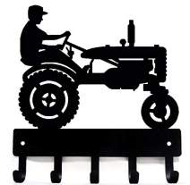 The Metal Peddler Farm Tractor with Farmer Key Rack Hanger - 9 inch Wide - Made in USA