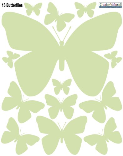 Create-A-Mural Butterfly Wall Decals (26) Butterfly Wall Decor Stickers, Peel & Stick Girls Wall Stickers (Soft Green)