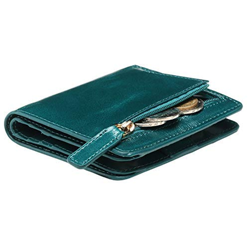 Itslife Women's Rfid Blocking Small Compact Bifold Leather Pocket Wallet Ladies Mini Purse with id Window (Peacock Green)