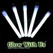 "Glow Sticks Bulk Wholesale, 50 4"" White Glow Stick Light Sticks. Bright Color, Kids Love Them! Glow 8-12 Hrs, 2-Year Shelf Life, Sturdy Packaging, GlowWithUs Brand…"