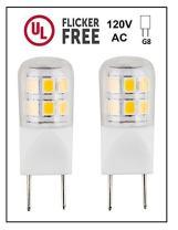 CBConcept UL-Listed, G8 LED Light Bulb (Shorter 35mm Length), 2-Pack, 2 Watt, 220 Lumen, NOT Dimmable, Pure White 6000K, 360° Beam Angle, 20W Equivalent, JCD Halogen Replacement Bulb