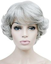 GOOACTION Short Curly Fluffy Silver Gray Wig with Bangs for Old Middle Aged and Elderly Women High Temperature Synthetic Granny Cosplay Hair Wigs