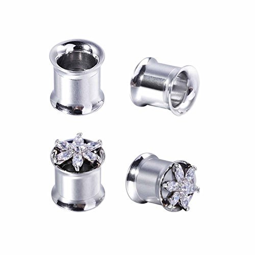 BodyJ4You 4PC Tunnels Double Flare Plugs 00G-16mm Crystal Flower Created-Opal Steel Expander Gauges Set