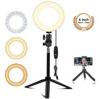 EEIEER Ring Light Stand, 6'' Small Ring Light with Stand Mini LED Camera Light with Cell Phone Holder Desktop LED Lamp for Live Stream/Makeup/Video/Photography (6inch,White/Cold Light)