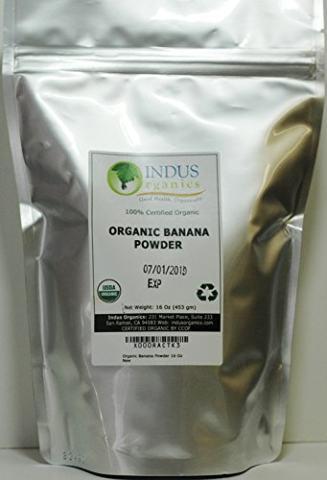 Indus Organics Banana Powder, 1 Lb Bag, Sulfite Free, No Added Sugar, Premium Grade, High Purity, Freshly Packed