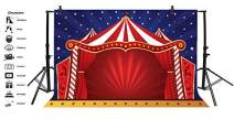 Baocicco 9x6ft Circus Red Tent Backdrop Starry Sky Night of Circus Party Dome Tent Red Photography Background Carnival Festival Entertainment Birthday Party Decoration Children Adult Party Portrait