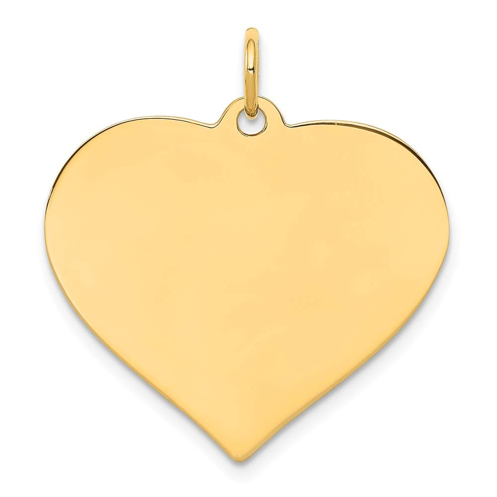 14k Yellow Gold .011 Gauge Engravable Heart Disc Pendant Charm Necklace Curved Shaped Fine Jewelry For Women Gifts For Her