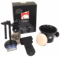 GBS Men's Grooming Set - Black Matte Double Edge Razor w/Travel Case + Safety Blades, Pure Bristle Shave Brush, Heavy Duty Lather Mug, Black Stainless Brush & Razor Stand & Natural Shaving Soap