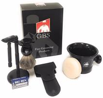 GBS Men's Grooming Set - Black Matte Double Edge Razor w/Travel Case + Safety Blades, Pure Bristle Shave Brush, Heavy Duty Lather Mug, Black Stainless Brush & Razor Stand & Natural Shaving Soap