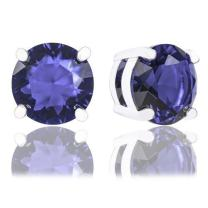 ORROUS & CO Legacy Collection 18K White Gold Plated Round Cubic Zirconia Solitaire Stud Earrings