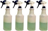 4 - Plastic Spray Bottles Leak Proof Technology Empty 32 oz Commercial Grade bottles for Cleaning Solutions w/ Fully Adjustable Trigger Sprayer heads - 4 Sets