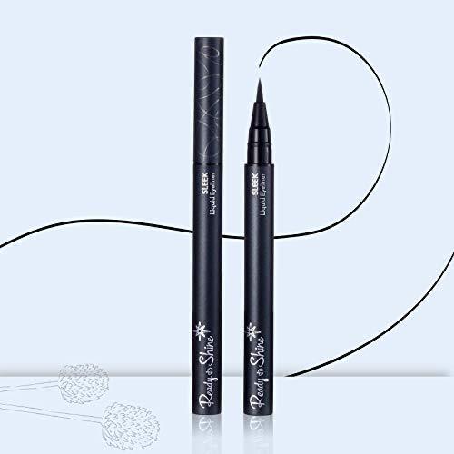 Black Liquid Eyeliner- Waterproof, Smearproof, Fine Tip, Super Fast Dry Formula, Flexible Applicator Creates Flawless Lines, Paraben & Fragrance Free, Cruelty Free and Vegan, Eyelash Enhancing, SLEEK