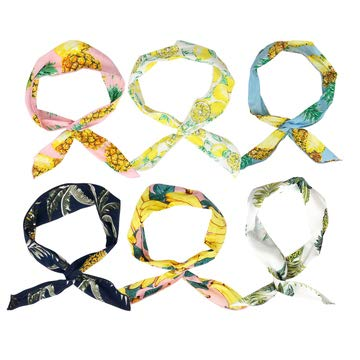 REAL SIC Twist Bow Wire Headband 6-Pack - Stylish & Flexible Boho Patterned Fabric Hair Band for Yoga, Exercize, Festivals or Everyday Wear (Copacabana)