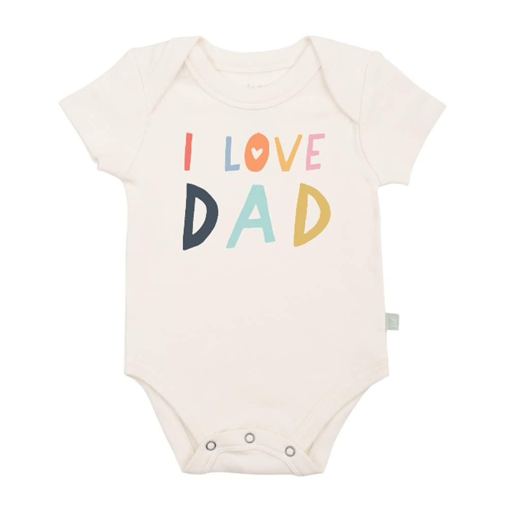 Finn + Emma Organic Cotton Graphic White Baby Bodysuit - Love Dad, 9-12 Months