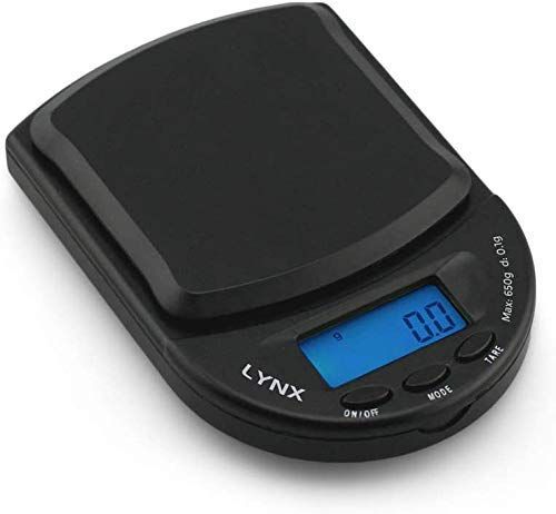Truweigh - LYNX Digital Mini Scale - 650g x 0.1g and Long Lasting Portable Grams Scale for Kitchen Scale, Food Scale and Postal Scale Use (Black/Black)