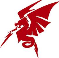 hBARSCI Fire Breathing Dragon Vinyl Decal - 5 Inches - for Cars, Trucks, Windows, Laptops, Tablets, Outdoor-Grade 2.5mil Thick Vinyl - Red