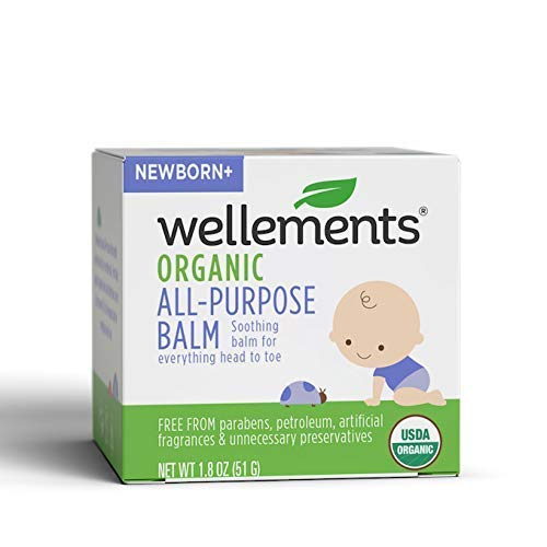 Wellements Organic All Purpose Balm, 1.8 Fl Oz, Soothing Head to Toe Balm for Infants and Toddlers, Free from Dyes, Parabens, Preservatives