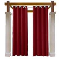 Macochico Outdoor Water Repellent Curtains Panels Red Solid Color Thermal Insulated Privacy Protection Grommet Blackout Drape for Patio Garden Backyard Gazebo Porch 52W x 63L (1 Panel)