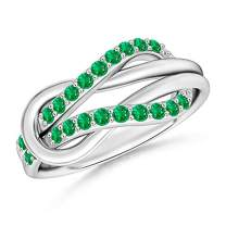 Encrusted Emerald Infinity Love Knot Ring (1.3mm Emerald)