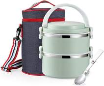 Stackable Bento Box Stainless Steel Thermal Lunch Box Leakproof Food Storage Containers with Insulated Lunch Bag for Adults,Men,Women,BPA Free(2-Tier,Green)