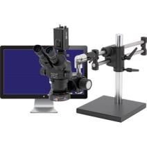 """O.C. White TKPZT-LV2 Pro-Zoom 6.5 Digital Trinocular Stereo Zoom Microscope with 22"""" HD LED Monitor, 10x Super-Widefield Eyepieces, 5x-65x Magnification, 1.0x-6.5x Zoom Objective, 0.5x Auxiliary Objective, LV2000 LED Ring Illuminator, Ball-Bearing Base, 120V-240V, Includes 1080P HD Camera"""