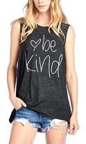 DUTUT Be Kind Tank Tops for Women Funny Letters Printed Vest Top Inspirational Casual Sleeveless Tees Shirt Dark-Grey