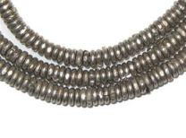 Kenya Silver Heishi Beads - Full Strand of 3mm African Metal Disk Spacers - The Bead Chest