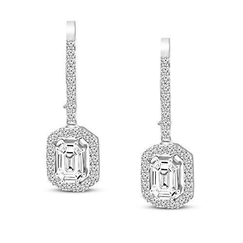 Natural Diamond Earrings Emerald Shape Diamond Stud Earring IGI Certified 3/4 ct Diamond Earrings For Women 14K GH-SI Real Diamond Pie Cut Halo Setting For Women