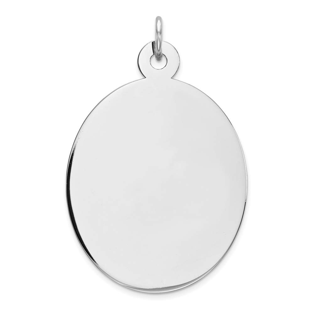 925 Sterling Silver Rhod Plate Eng. Oval Polish Front Back Disc Pendant Charm Necklace Engravable Elliptical Fine Mothers Day Jewelry For Women Gifts For Her