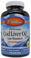 Carlson - Cod Liver Oil Gems, Low Vitamin A, Omega-3s EPA & DHA, Promotes Heart, Brain, Vision & Joint Health, Lemon, 150 soft gels