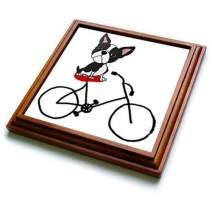 """3dRose Cute Funny Cocker Spaniel Dog Eating Ice Cream Trivet With Tile, 8 by 8"""""""