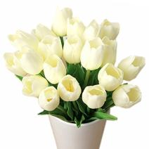Bringsine Premium Artificial Flowers Real Touch Mini PU Tulips Bouquet Artificial Plants for Wedding Room Home Hotel Party Event Christmas Decor Cream White Set of 20
