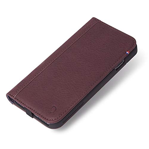 DECODED Wallet Case for iPhone 8, 7, 6s, 6, Full-Grain Leather + Elastic Closure + Impact Resistant Materials + 3 Card Storage - (Purple)