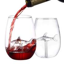 HOMEACC Shark Stemless Wine Glass Set of 2,Premium Crystal,Perfect for Red and White Wines -Lead Free Outdoor Drinkware All-Purpose Tumblers,Funny Shark Gifts&Cup for Wedding,Anniversary,Party