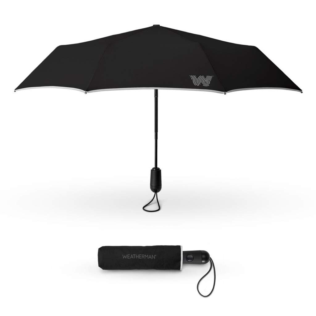 The Weatherman Umbrella - Travel Umbrella Made with Teflon-Coated Fabric - Weighs Less Than 1 Pound and Under 12 Inches - Built to Withstand Winds Up to 45 MPH - Available in 2 Colors (Black)