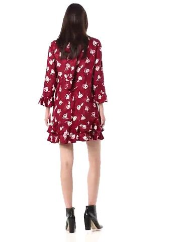 Rebecca Taylor Women's Long Sleeve Floral Ruffle Dress with Tie at Neckline