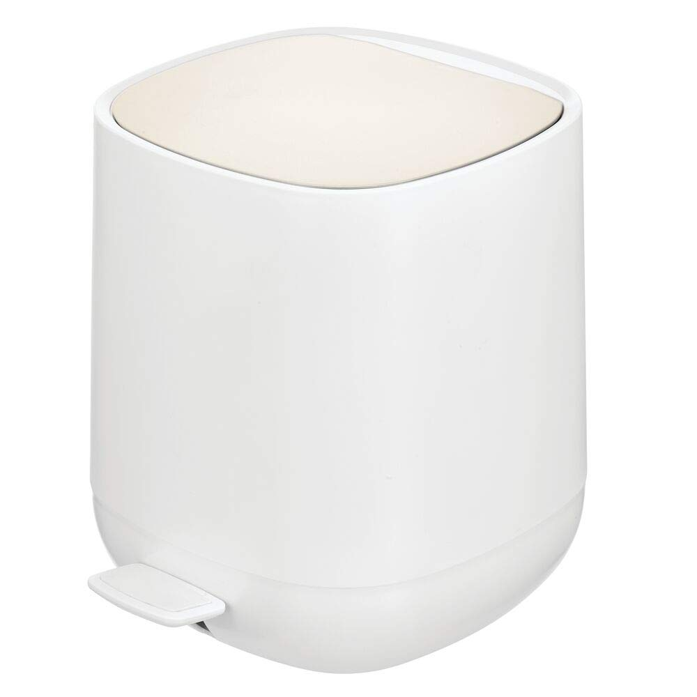 mDesign Modern 1.3 Gallon Plastic Step Trash Can Wastebasket, Small Garbage Container Bin - for Bathroom, Powder Room, Bedroom, Kitchen, Craft Room, Office - Removable Liner Bucket - White/Matte Satin
