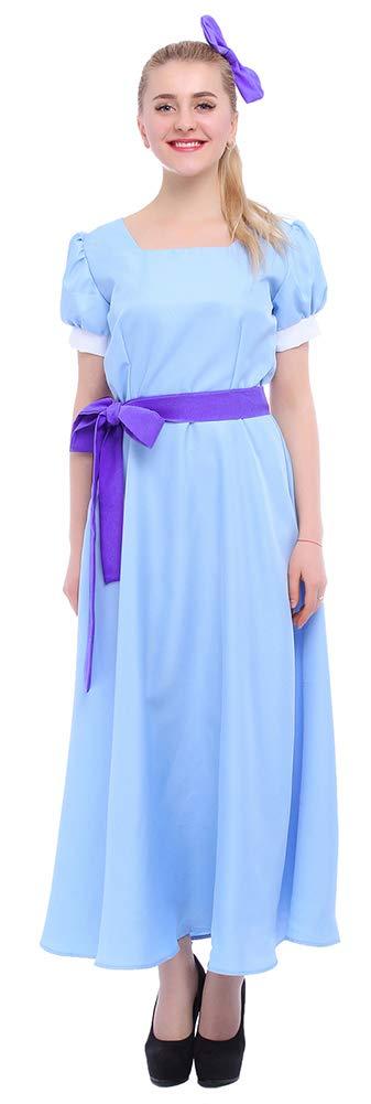 ROLECOS Womens Princess Dress Light Blue Maxi Dresses Halloween Cosplay Costume