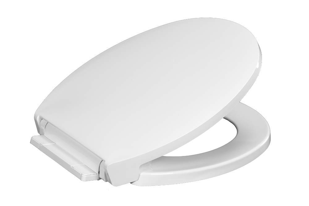 Centoco 1400SC-001 Round Plastic Toilet Seat with Safety Close, Luxury Model, Heavy Duty Residential, White