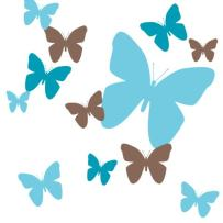 Create-A-Mural Butterfly Wall Decals- Girls Wall Stickers ~ Decorative Peel & Stick Wall Art Sticker Decals (2Teal,Brown)