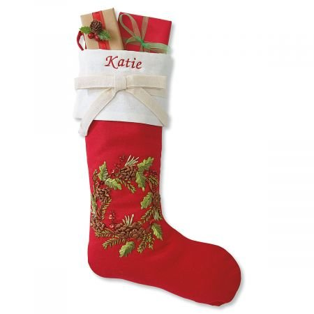 "Lillian Vernon Personalized Embroidered Christmas Stocking – Christmas Wreath Design, 20"" Long, Polyester"