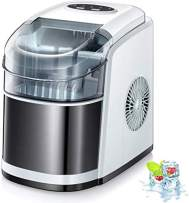 Kismile Countertop Ice Maker Machine,26Lbs/24H Compact Automatic Ice Makers,9 Cubes Ready in 6-8 Minutes,Portable Ice Cube Maker with self-cleaning program (White)