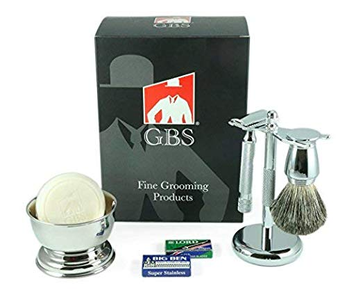 GBS Shaving Gift Set Made in Solingen Germnay MK 38C Safety Razor (Barber Pole 38001 + GBS Accessories Natural Glycerin Soap Badger Brush, Stand + Blades Precision Classy Men's Gift